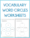 Vocabulary Word Circles Worksheets