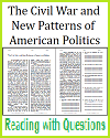 Civil War and New Patterns in American Politics Reading with Questions
