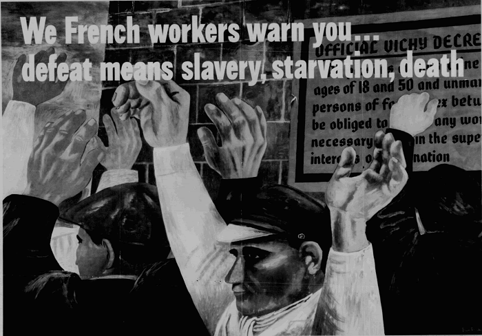 World War II Propaganda Poster: We French workers warn you...defeat means slavery, starvation, death.