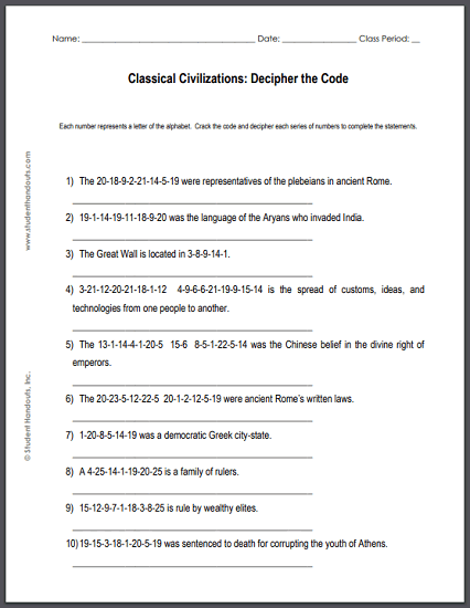 Classical Civilizations Decipher-the-Code Puzzle Worksheet - Free to print (PDF file) for junior or senior high school Social Studies.