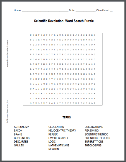 Scientific Revolution Word Search Puzzle - Free to print (PDF file) for high school World History students.