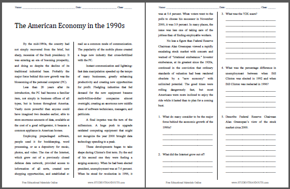The American Economy in the 1990s Reading with Questions - Free to Print for High School United States History