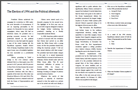 The Election of 1996 and the Political Aftermath - Reading with questions for U.S. History. Free to print (PDF file).