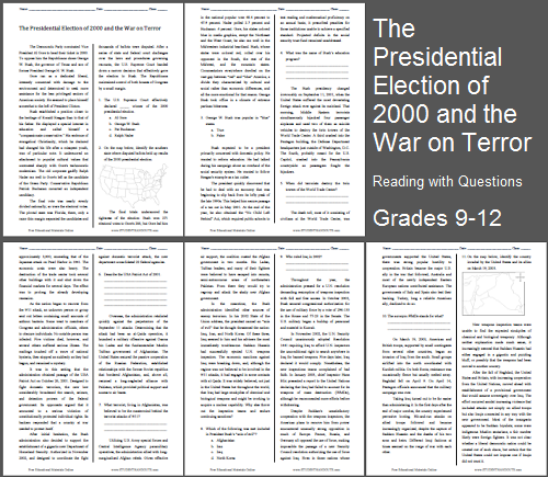 """""""The Presidential Election of 2000 and the War on Terror"""" Reading with Questions for High School United States History Students"""