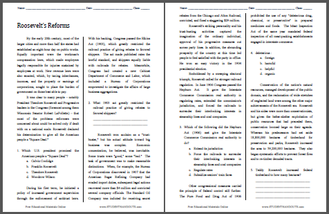 Roosevelt's Reforms - Free printable reading with questions for high school United States History classes (PDF file).