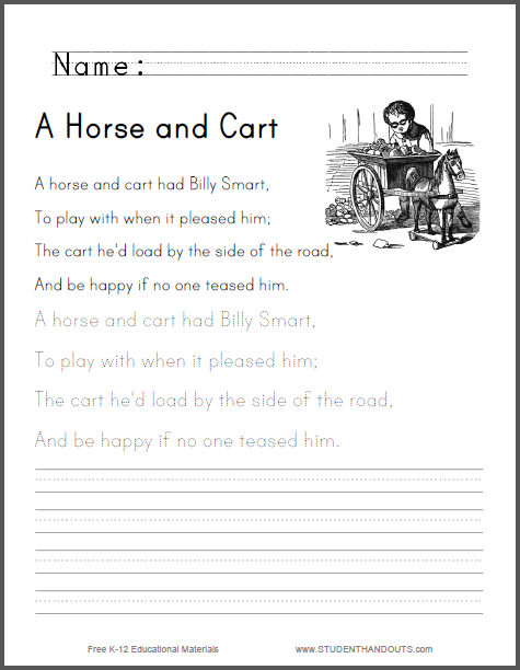 A Horse and Cart - Nursery rhyme worksheet is free to print (PDF file).