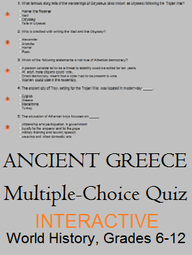 Ancient Greece Interactive Multiple-choice Test - Check your knowledge for free online. For high school World History teachers and students.