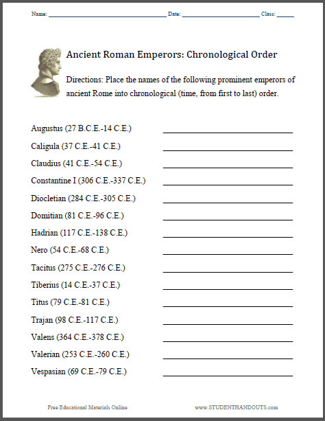 Roman Emperors: Chronology - Worksheet is free to print (PDF file).