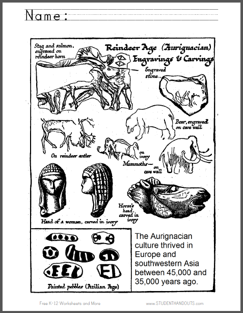 Aurignacian Age Coloring Page - Free to print (PDF file).