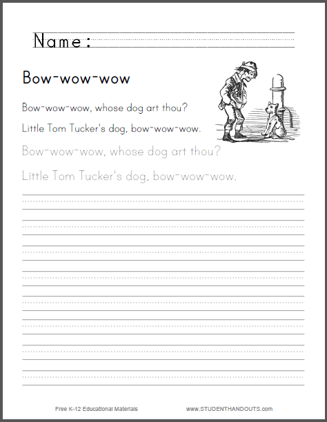 Bow-wow-wow Nursery Rhyme - Worksheet is free to print (PDF file).
