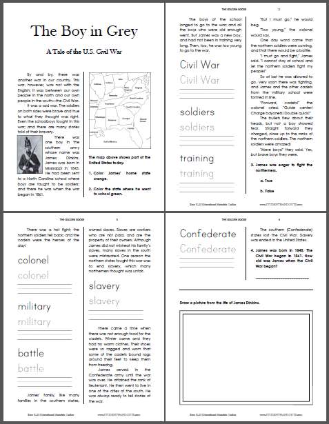 The Boy in Grey Civil War Workbook - For lower elementary. Free to print (PDF file).