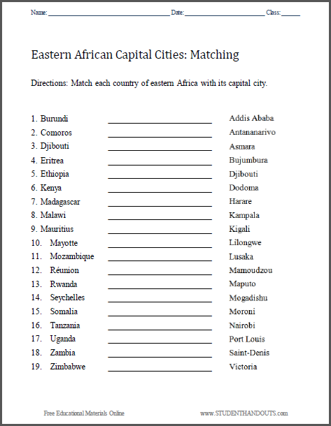 East Africa Capitals Matching Worksheet - Free to print (PDF file).