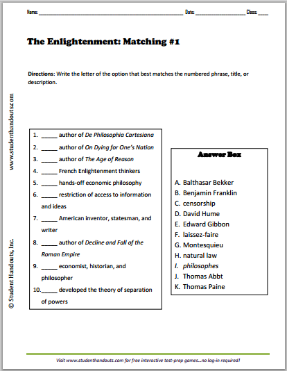 Enlightenment Matching Worksheets Student Handouts