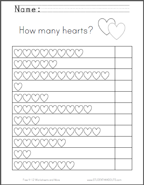 How Many Hearts Counting Worksheet - Free to print (PDF file) for kindergarten.
