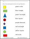 Match Colored Shapes by Name Worksheets