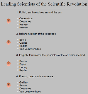 Leading Scientists of the Scientific Revolution - Interactive multiple-choice quiz for World History and European History classes.