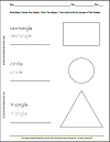 Shapes Worksheet: Rectangle, Circle, and Triangle