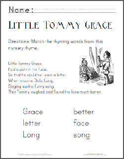 Little Tommy Grace - Nursery rhyme worksheets are free to print (PDF files).