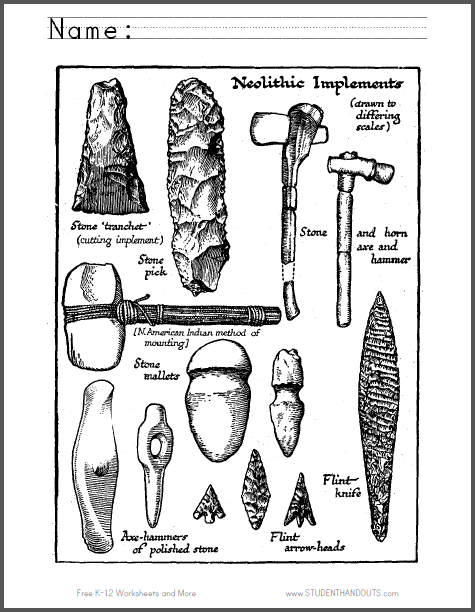 Neolithic Tools Coloring Page - Free to print (PDF file).