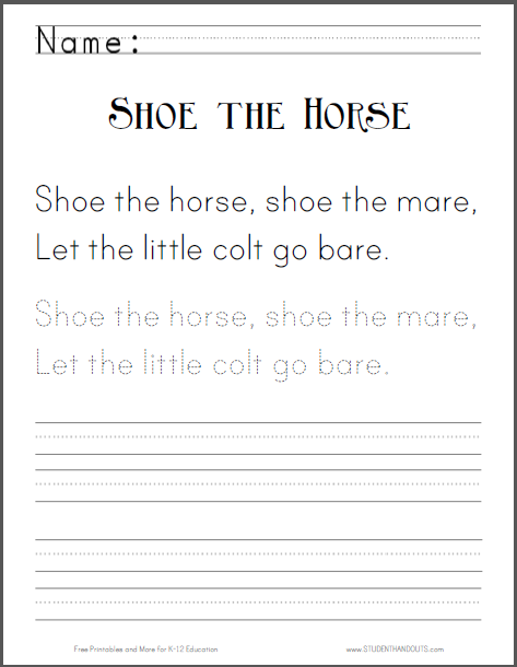 Shoe the Horse - Nursery rhyme worksheet is free to print (PDF file).