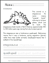 Stegosaurus Worksheet for Lower Elementary Students