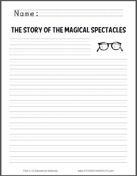 Story of the Magical Spectacles Writing Prompt - Free to print (PDF file) for students in the primary grades.