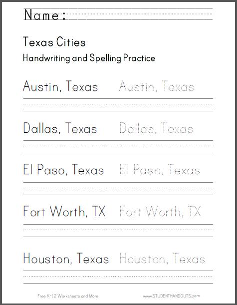 Texas Handwriting Practice Worksheets - Free to print (PDF files). Cursive script or print manuscript.