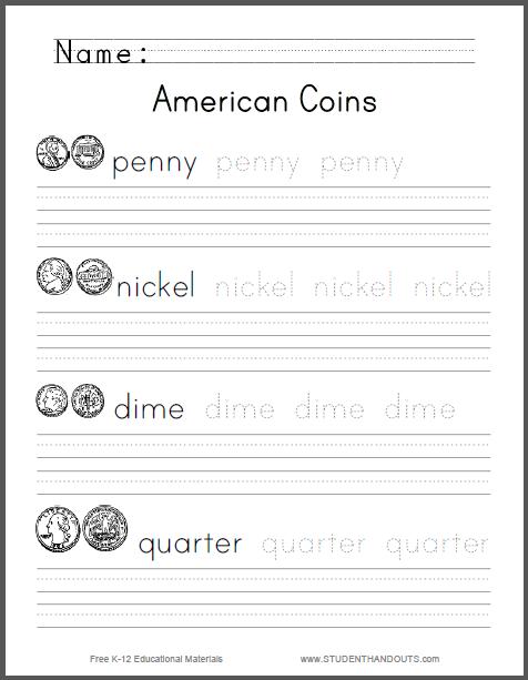American Coins Spelling Worksheet - Free to print (PDF file).