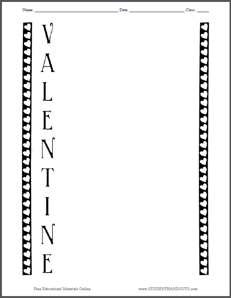 Valentine Acrostic Poem Worksheet - Free to print (PDF file).