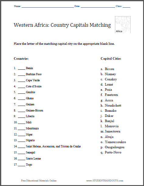 Western Africa: Country Capitals Matching Worksheet - Free to print (PDF file).