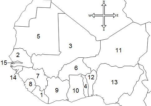 Western Africa Online Map Identification Game