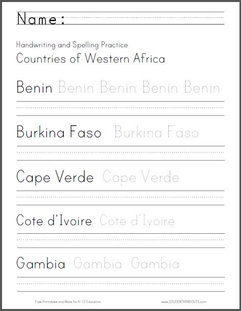 Western African Countries Handwriting and Spelling Practice - Worksheets are free to print (PDF files).