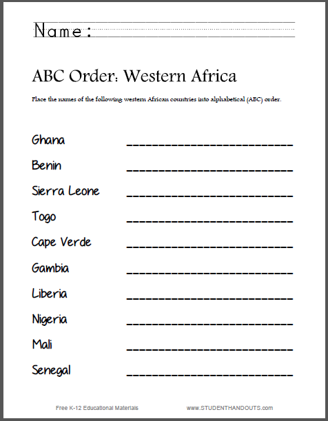 Western African Countries ABC Order - Worksheet is free to print (PDF file).