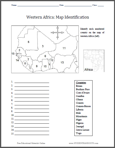 Map Of Africa Worksheets.Western Africa Map Identification Worksheet Student Handouts