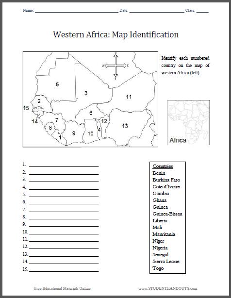 Western Africa Map Identification Worksheet - Free to print (PDF file).