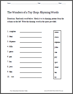 """The Wonders of a Toy Shop"" Printables - Free eBook and accompanying worksheets."