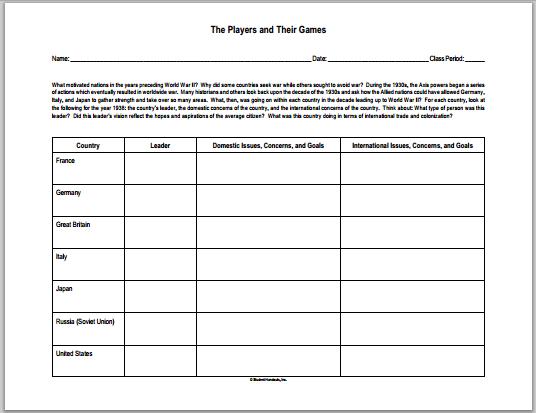 World War II Leaders DIY Chart - Free to print (PDF file).