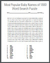 Most Popular Baby Names of 1880 Word Search