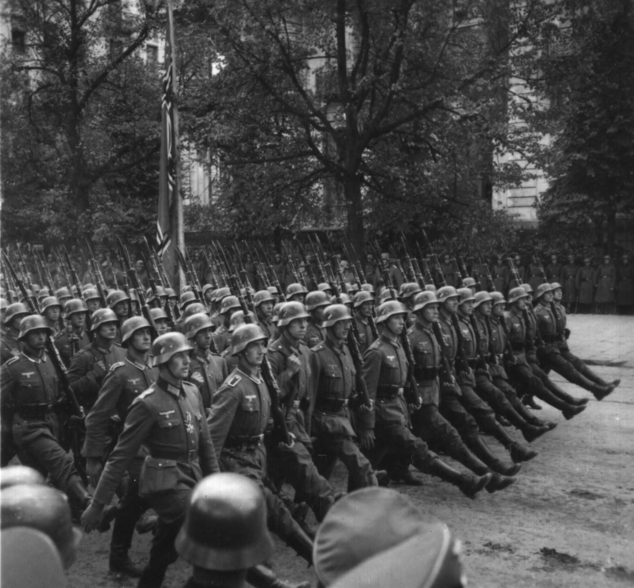 Nazi Troops Marching Through Warsaw, Poland