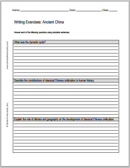 Essay Questions on Ancient China - Free to print (PDF file).