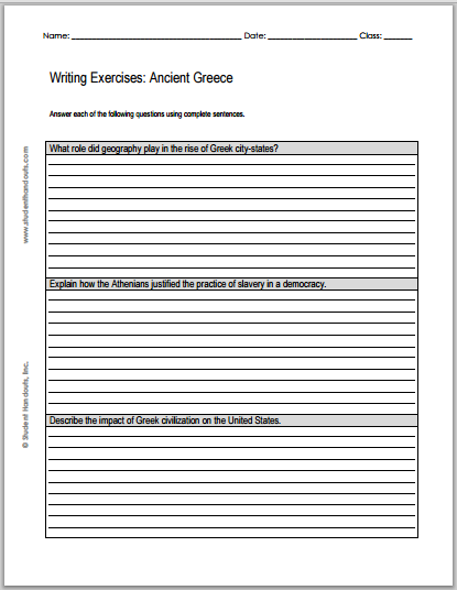 Ancient Greece Essay Questions - Free to print (PDF file).