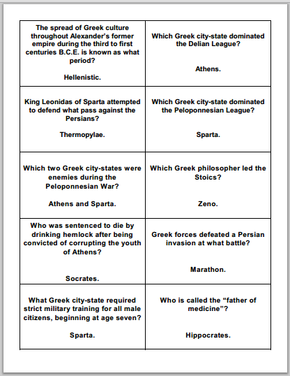 Ancient Greece Study Game Gards - Free to print (PDF file).