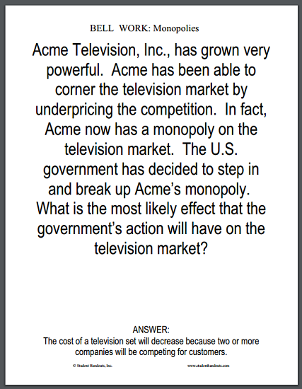 Monopolies Bell Work Question - Free to print (PDF file).