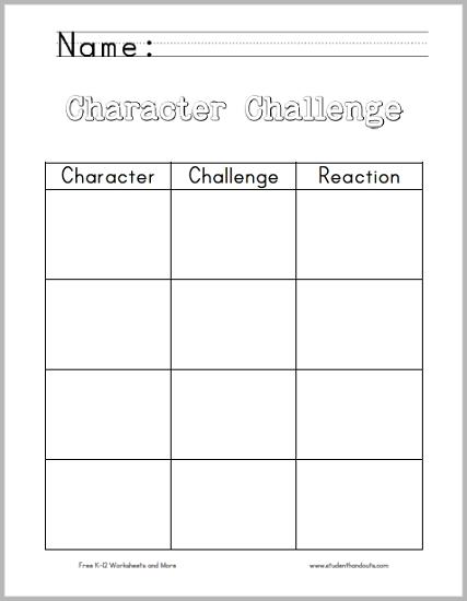 character challenge chart worksheet student handouts