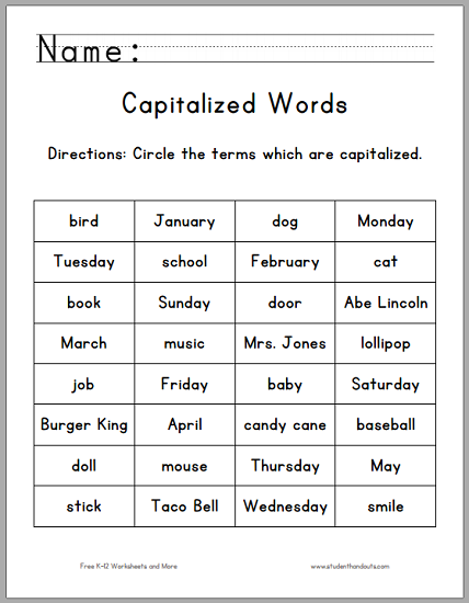 Circle the Capitalized Terms Worksheet - For first grade. Free to print (PDF file).