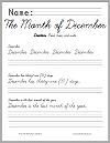 December Handwriting and Spelling Practice in Cursive or Print Font