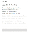 Diddle Diddle Dumpling Nursery Rhyme Printable Worksheet