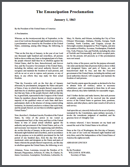 Emancipation Proclamation, 1863 - Free Historical Document to Print (PDF File)