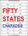 Fifty States Charades Quiz Game Cards