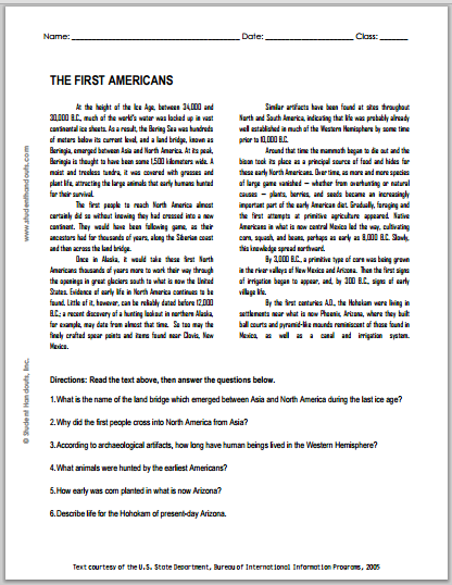 """The First Americans"" Reading with Questions for High School United States History Students"